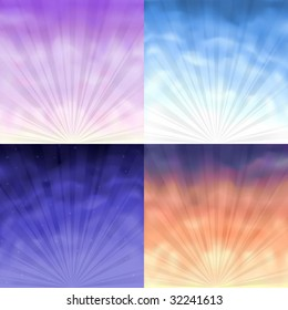 Four gradient mesh backgrounds - morning, day, evening and night