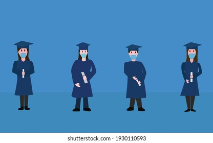 four graduates with face masks and diplomas in their hands maintain social distancing on blue background