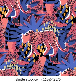 Four graphic cheetahs in different poses surrounded by exotic plants. Vector african seamless pattern drawn with rough brush in vibrant colors