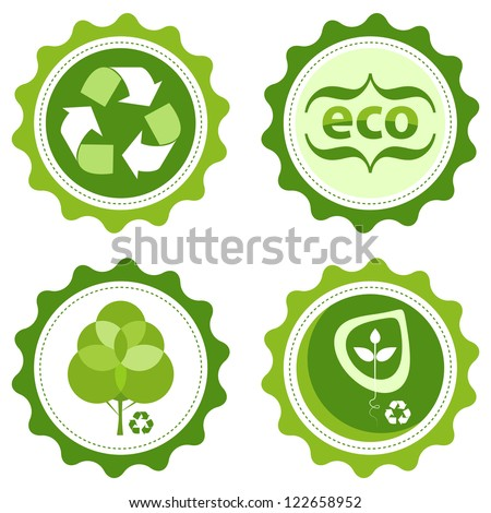 Four Green Environmentally Friendly Stickers Recycle Stock Vector