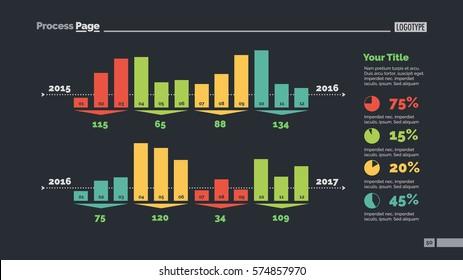 Four Groups of Bar Chart Columns Slide