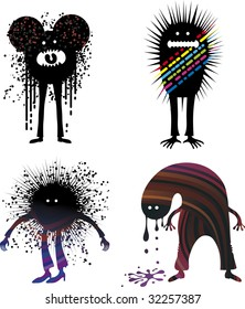 four grunge graphic character with drops and jags