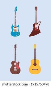 four guitars instruments musicals set icons vector illustration design