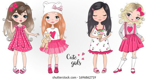 Four hand drawn beautiful cute little girls. Vector illustration.