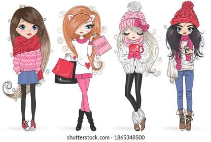 Four hand drawn beautiful cute winter girls. Vector illustration.