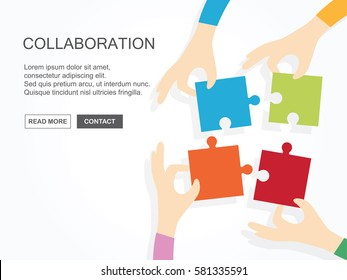 Four hands holding puzzle together. Teamwork, partnership, business, cooperation and management concept.