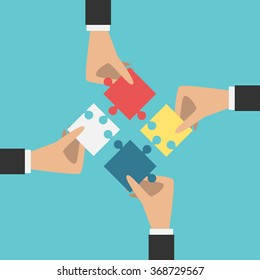 Four hands putting multicolor puzzle pieces together. Teamwork, cooperation, business, solution, work concept. EPS 8 vector illustration, no transparency