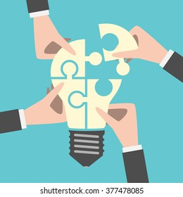 Four hands putting together light bulb shaped puzzle. Teamwork, team, idea, business, solution, creativity concept. Flat style. EPS 8 vector illustration, no transparency