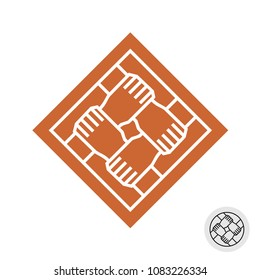 Four hands teamwork logo. Square symbol of four people hands holding together as grid knot. Line style co-working icon. Team of people creative sign.