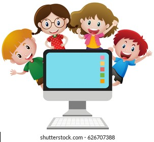 Four happy children behind computer screen illustration