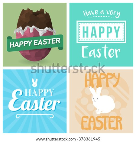 Four happy easter cards illustrations easter stock vector royalty four happy easter cards illustrations with easter eggs easter bunny and fonts m4hsunfo