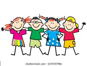 Four happy kids, girls and boys, funny color vector illustration on white background.