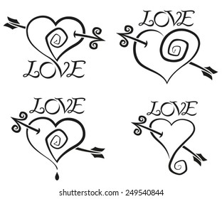 Four hearts in tattoo style