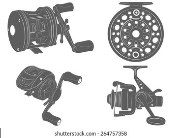 four highly detailed fishing reel icons