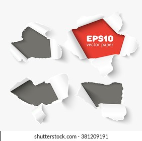 Four holes in white paper with torn sides over paper background with space for text. Realistic vector torn paper template with ripped edges. Torn paper banner for web advertising and print posters