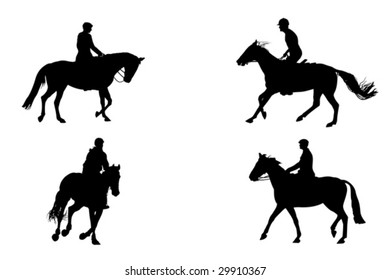 four   horseback riding silhouettes