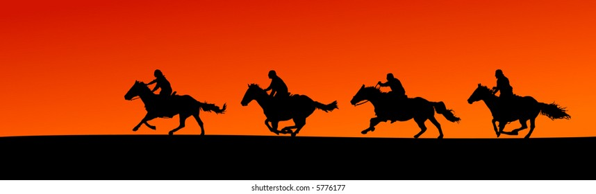 Four Horsemen Riding at Sunset (vector)