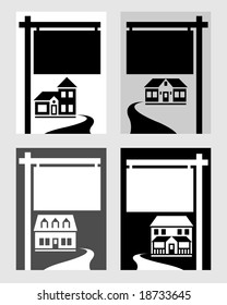 Four houses with signs.
