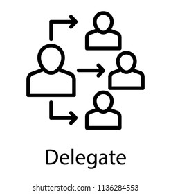 Four human avatars a connected to one team lead, forming icon for delegate