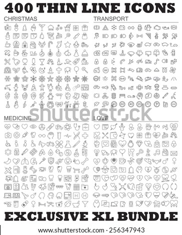 Four hundred thin line vector icons bundle. Christmas, winter, holidays, love, wedding, medicine, health care, transport, cars and many other.