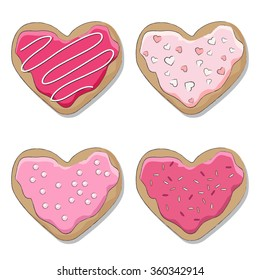 Four iced cookies over white background,  decorated for Valentine's Day.. EPS10 vector format