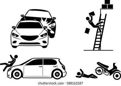 Four icons for accident insurance. Vector