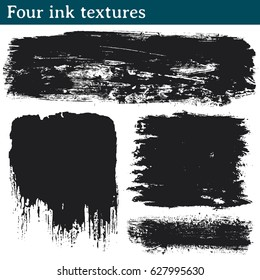 Four ink textures. Set of textures made with ink stains to give a grunge look to your vector works.