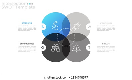 Four intersected translucent round elements with linear icons inside and place for text. Concept of SWOT analysis of enterprise. Simple infographic design template. Vector illustration for brochure.