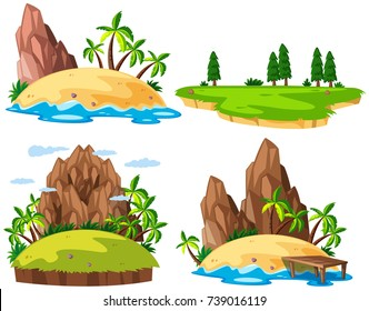 Four islands on white background