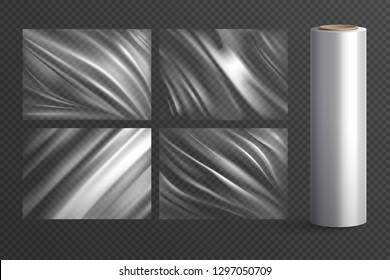 Four isolated blank wrapping texture polyethylene packages and plastic roll on  transparent background realistic vector illustration