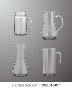 Four isolated  glass jugs of different form in realistic style on transparent background vector illustration