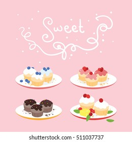 Four isolated sets of different flavors of muffins arranged on plates on pink background. Big handwritten sign on top of the image.
