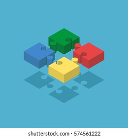 Four isometric joined puzzle pieces of various colors on blue background with drop shadow. Teamwork, cooperation and solution concept. Flat design. Vector illustration. EPS 8, no transparency