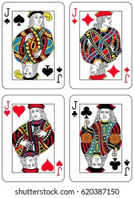 Four Jacks figures inspired by playing cards french tradition. All the figures are inside a playing card frame