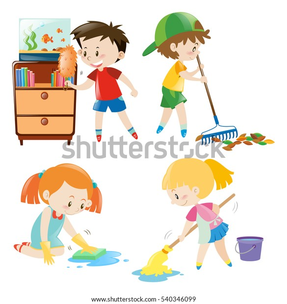 Cabinet Maker Clip Art: Four Kids Doing Different Chores Home Stock Vector