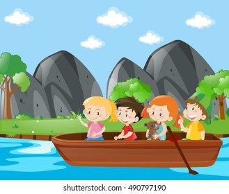 Four kids rowing boat along the river illustration