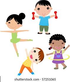 Kids Exercise Cartoons Images Stock Photos Vectors Shutterstock