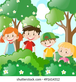 Four kids standing behind the bush illustration