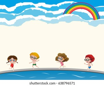 Four kids in swimming suit and goggles illustration