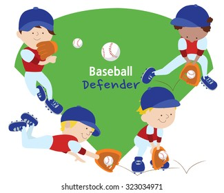 Four kids in uniform defending the bases.  Each child is holding a different pose.