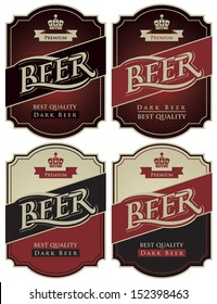 four labels for beer in a retro style