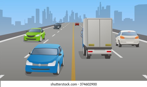 four lanes road and various vehicles, opposite lane, vector illustration