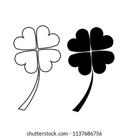 Four leaf clover icon. Black icon isolated on white background. Four leaf clover linear and Clover silhouette vector