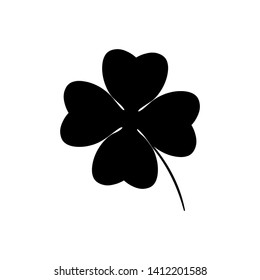 Four leaf clover icon in black. Herb Isolated on white background. St Patrick day symbol in flat style. Vector illustration for graphic design, Web, UI, app