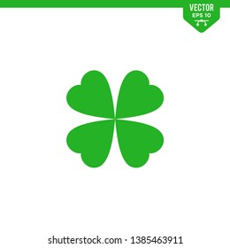 Four leaf clover icon collection in glyph style, solid color vector