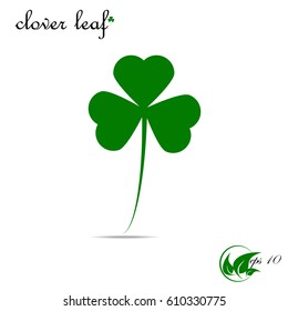 Four leaf clover icon. Green grass isolated on white. Vector St. Patrick's Day. Flat design.