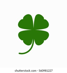 Four leaf clover icon.  Isolated on white. St Patrick s day vector