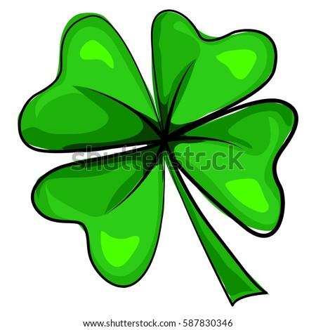 Four Leaf Clover Icon Vector Cartoon Stockvector Rechtenvrij