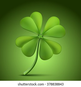 Four leaf clover isolated on green background. Vector illustration for St. Patrick's day