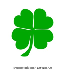 Four leaf clover. St.Patricks Day. Vector illustration on isolated background.